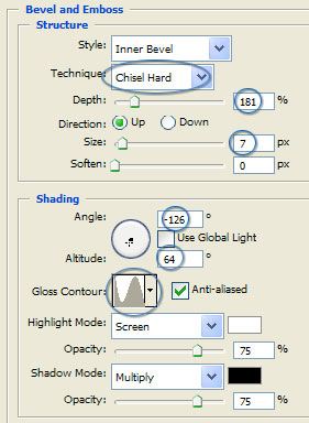 Platinum Bevel and Emboss Settings